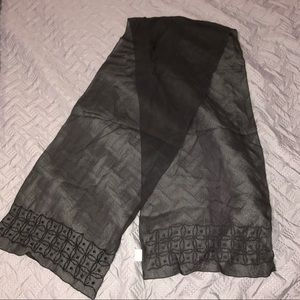 Black sheer scarf with beaded detailing